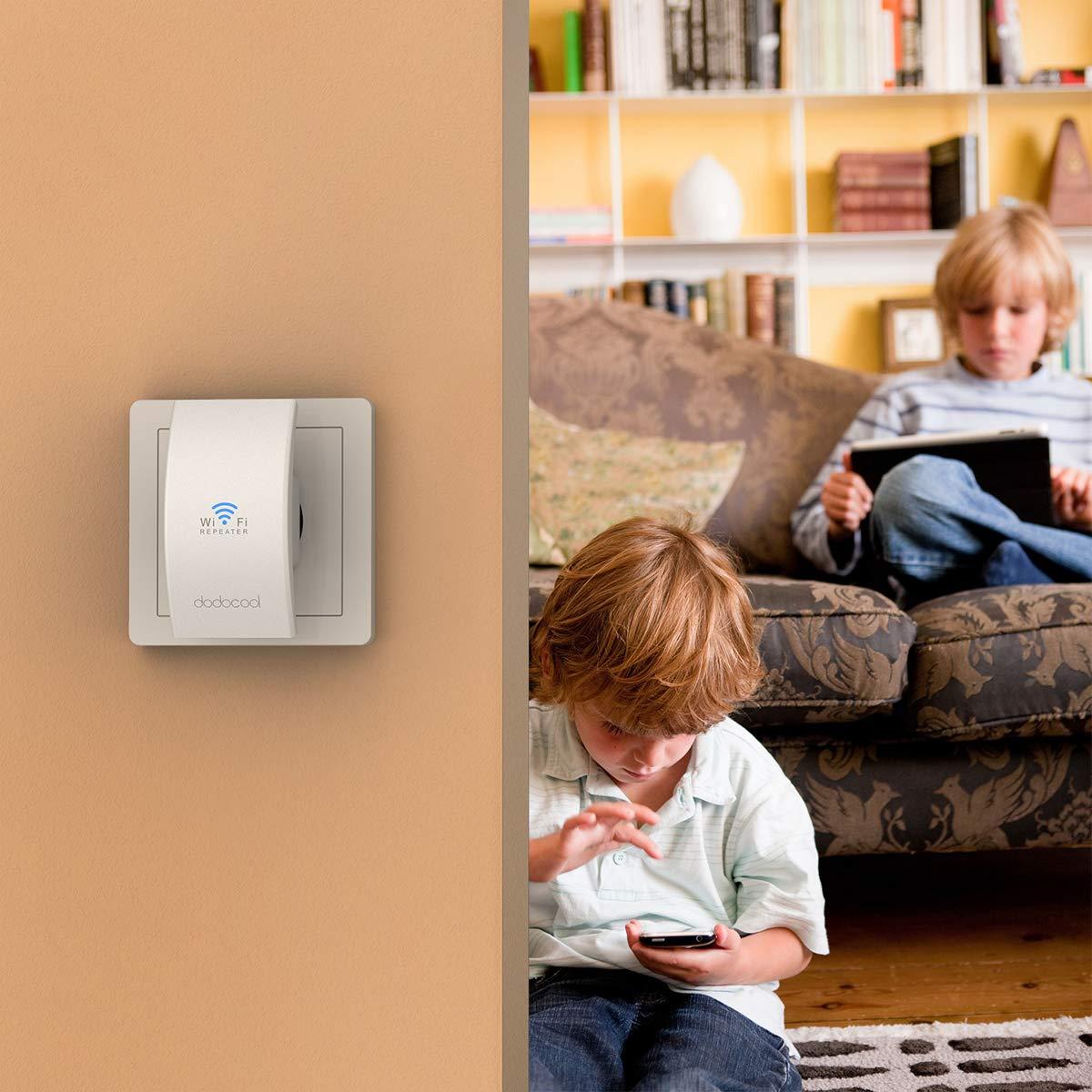 Extensor de Red WiFi Ap Amplificador Wireless Repeater Booster WiFi Ap//Router//Repetidor Modos N300 2.4GHz 300Mbps 802.11n//b//g con 2 Antenas Externas Enchufe EU dodocool WiFi Repetidor