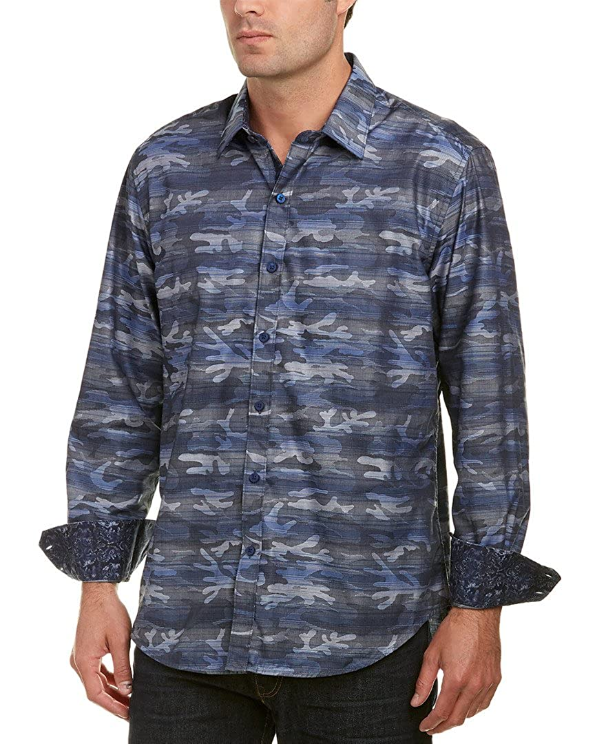 Robert Graham Camo Printed Striped L//S Sport Shirt Tailored Fit