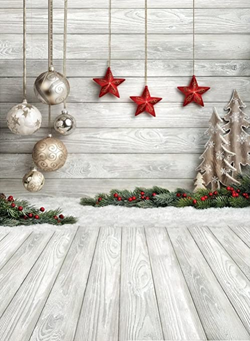 6x9ft christmas photo backdrop christmas balls stars white wood floor photography background customized pictorial cloth photo