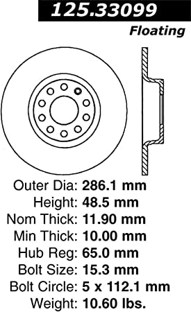 Centric 125.33099 Rear Disc Brake Rotor