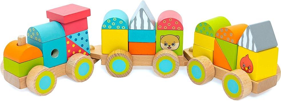 Eisenbahn mit Bausteine Holzeisenbahn Zug Spielzeug Lok mit