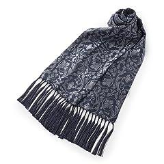 Penrose Floral Pattern Silk Scarf: Black