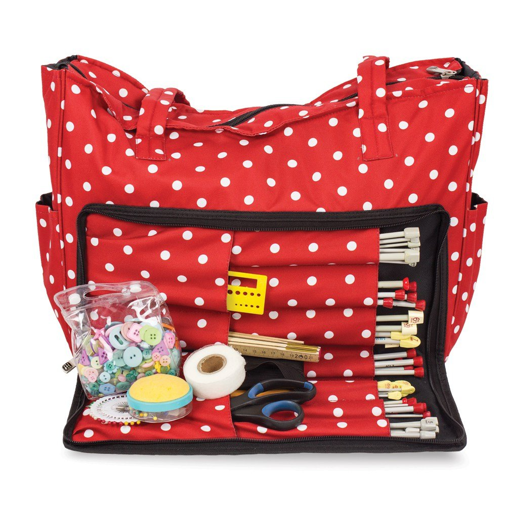 Knitting Shoulder Bag, Sewing Accessories and Craft Needle Storage Organiser Case In Red Polka Dot Roo Beauty Ltd