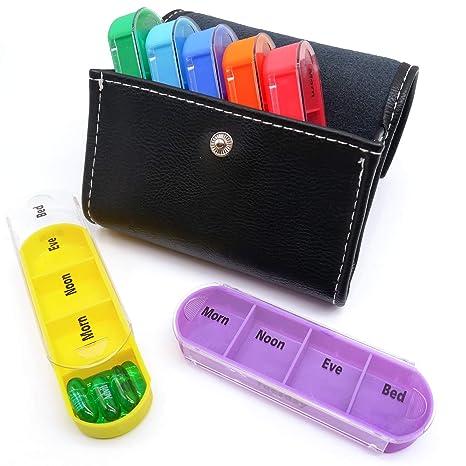 PuTwo Pastillero 7 días 28 compartimentos Pastillero Organizador Semanal Plástico con Estuche de Cuero Dispensador de Medicamentos Grande Medicamentos ...