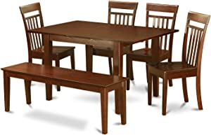 6 Pc dinette set-Kitchen Table and 4 Dining Chairs and Dining Bench