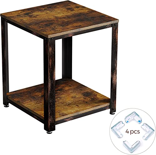 Rolanstar End Table, Rustic Nightstand Side Table with Storage Shelf, Wood Look Accent Furniture with Retro Metal Frame, for Living Room, Bedroom ED001-B