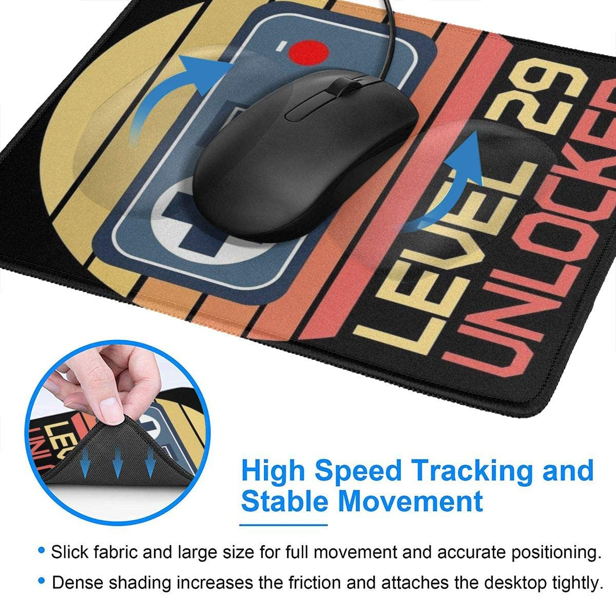 Level 27 Unlocked 27Th Birthday Gift Millennial Video Gamer T-Shirt Hemming The Mouse Pad 10 X 12 Inch Esports Office Study Computer