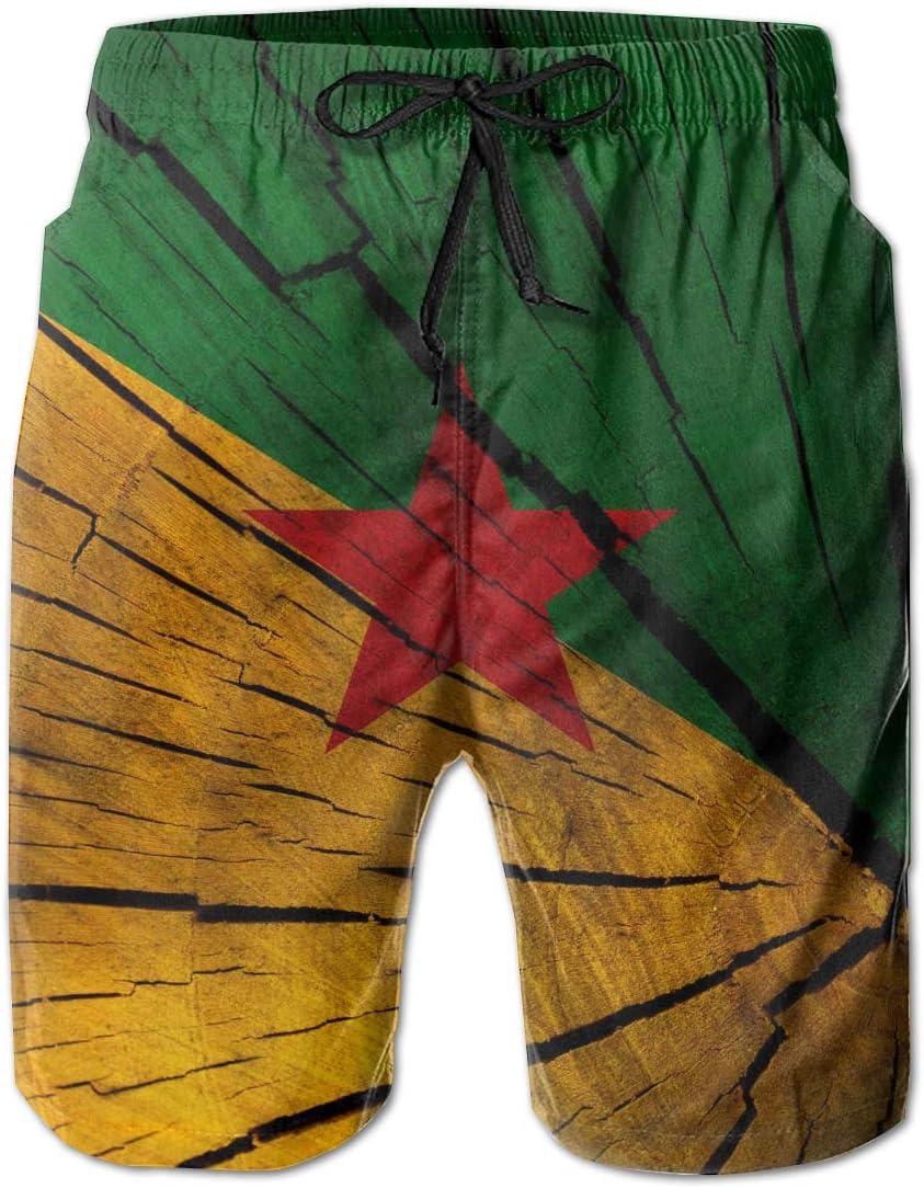 HFSST Wooden Texture Flag French Guiana Men Kid Male Summer Swimming Pockets Trunks Beachwear Asual Shorts Pants Mesh