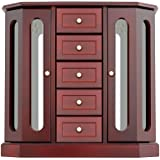 Jewelry Box - Made of Solid Wood with Cabinet Type 5 Drawers Organizer and 2 Separated Open Doors on 2 Sides and Large Mirror