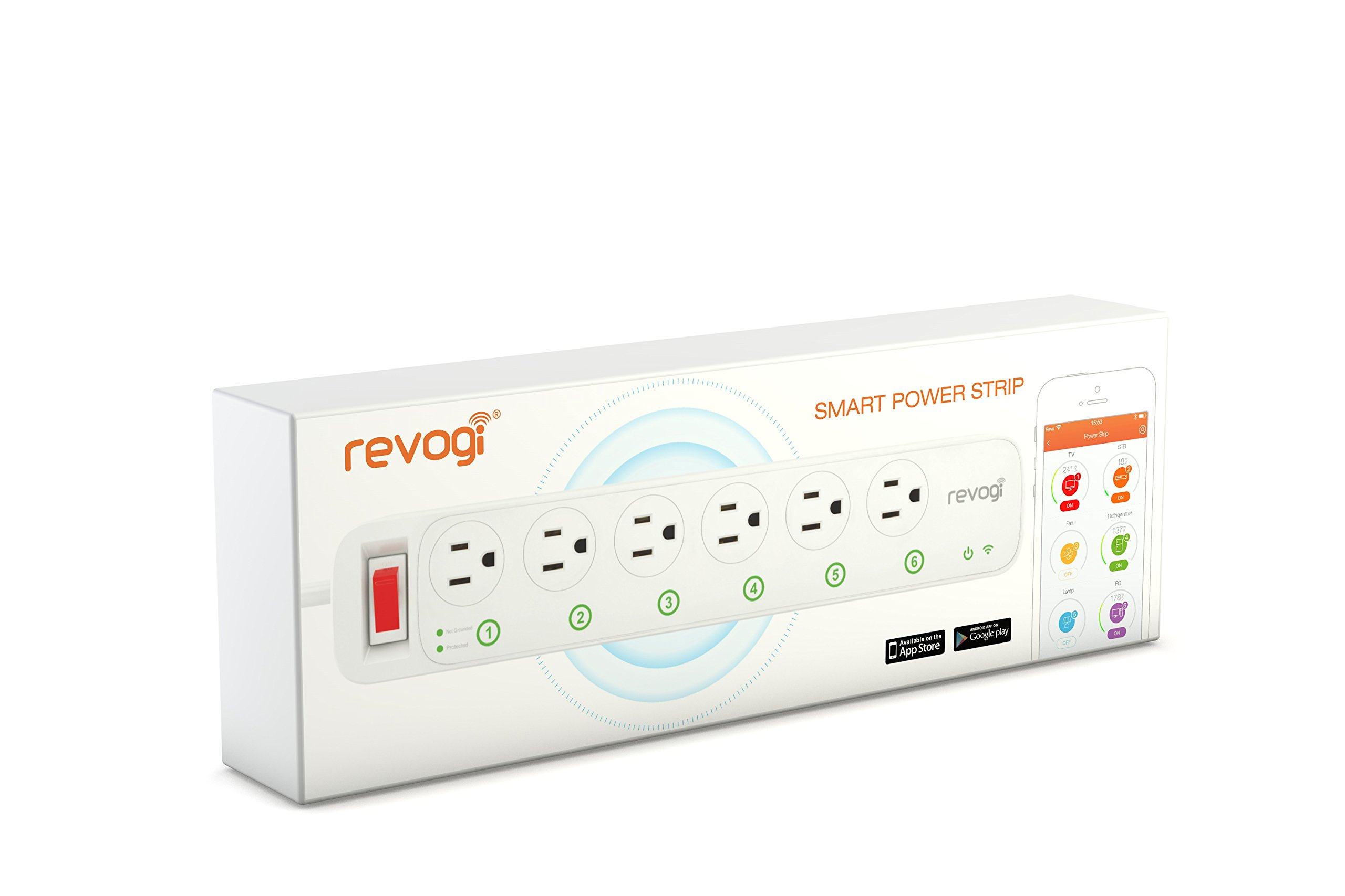 Revogi Smart Power Strip SOW014,controlled via Wi-Fi and LTE from anywhere, Turn on/off, schedule appliances, energy management, individual outlet control, Amazon Echo, Android and iOS compatible