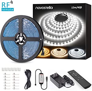 Novostella 40ft Tunable White LED Strip Light kit Dimmable 3000K-6000K 24V Remote Flexible LED Tape Ribbon for Living Room Cabinet Counter Bedroom Home Lighting Kitchen Bar Ceiling Daylight Warm White