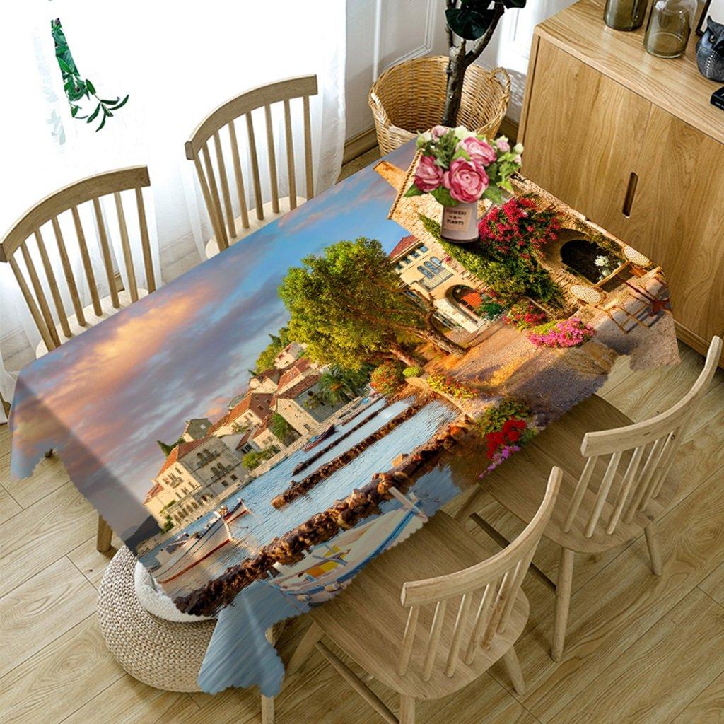 Barato Qiao jin Manteles Manteles rectangulares - 3D Landscape Series Mantel Vc22 - Respetuoso con el Medio Ambiente y sin Sabor - Impreso digitalmente a Prueba de Agua (Tamaño : Square -216cmx216cm)