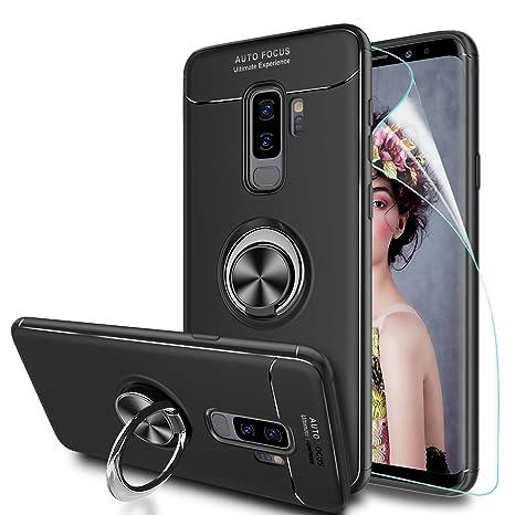 LeYi Coque Galaxy S9 Plus avec Anneau Kickstand, Rotation Bague Support  Arriere Doux Souple Silicone 675b290e3774