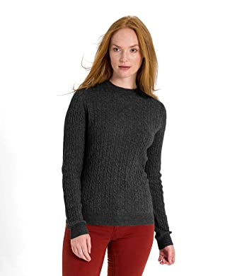 c3ac6e634a58 WoolOvers Womens Cashmere and Merino Cable Crew Neck Sweater Charcoal, S