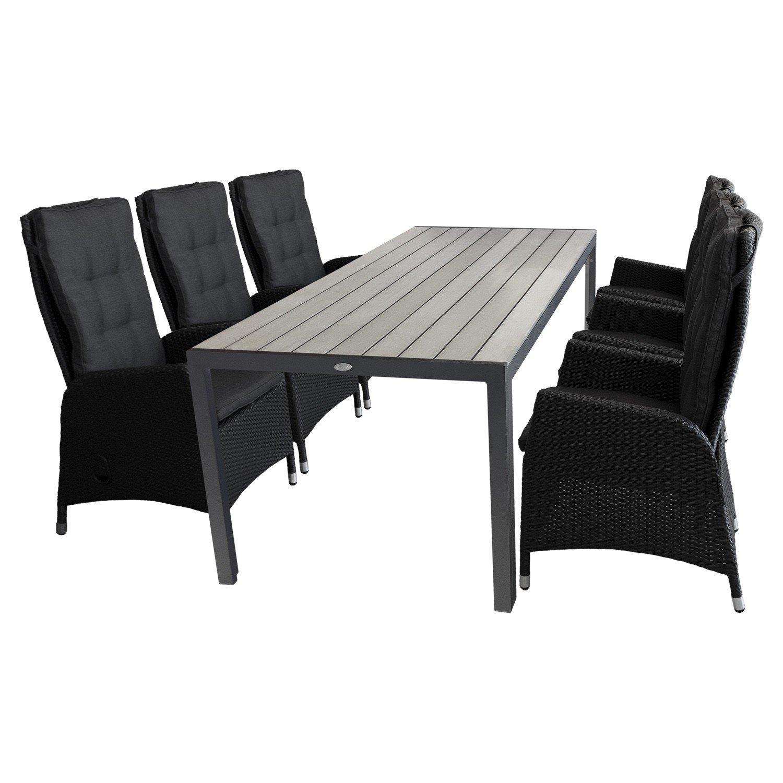 7tlg. Terrassenmöbel Gartenmöbel Set Gartengarnitur Sitzgruppe Sitzgarnitur - Gartentisch, Polywood-Tischplatte, 205x90cm, grau + 6x Gartensessel, Poly-Rattangeflecht, stufenlos verstellbare Lehne, schwarz