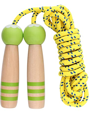 KWON® Springseil Holz Griff Skipping Rope Seil springen Sprungseil Hüpfseil weiß