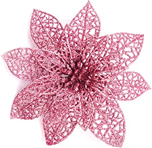 Wironlst 10 Pcs Rose Gold Glitter Poinsettia Flowers Christmas Tree Ornaments, Glitzy Poinsettia Bushes Christmas Decorations for Xmas/Holiday/Seasonal/Wedding
