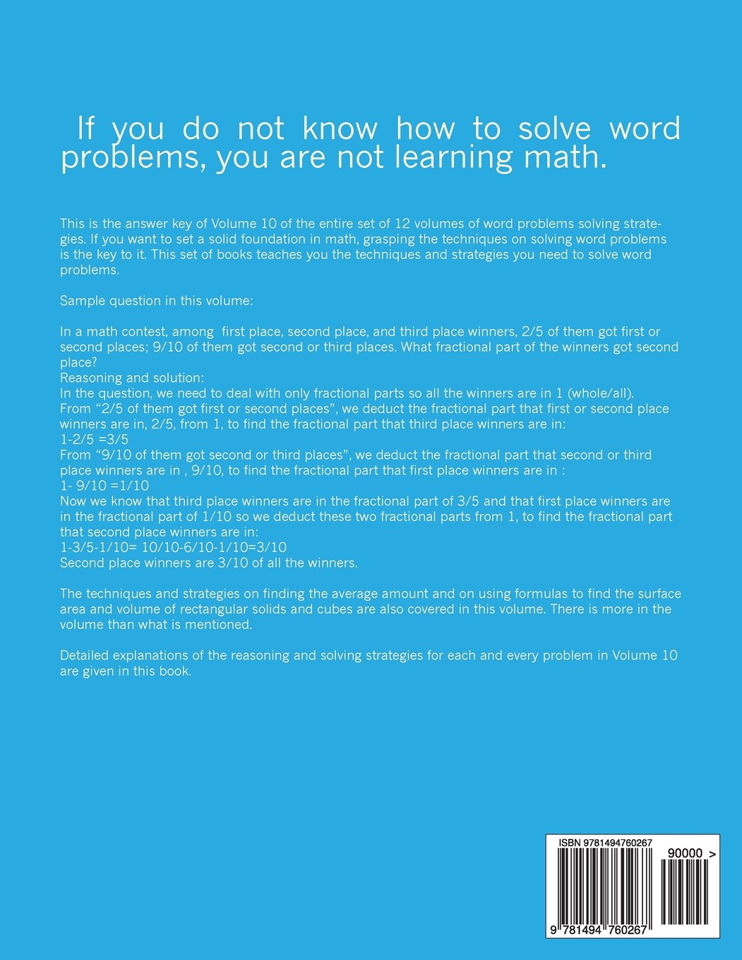 Word Problemsdetailed Explanations Of Reasoning And Solving Strategies:  Volume 10 Answer Key: Bill S How To Calculate The Surface Area