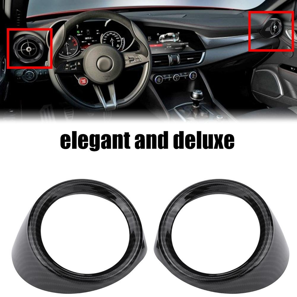 Qiilu Car Interior Front Row Side Air Conditioner Outlet Trim Cover Frame for Alfa Romeo Giulia