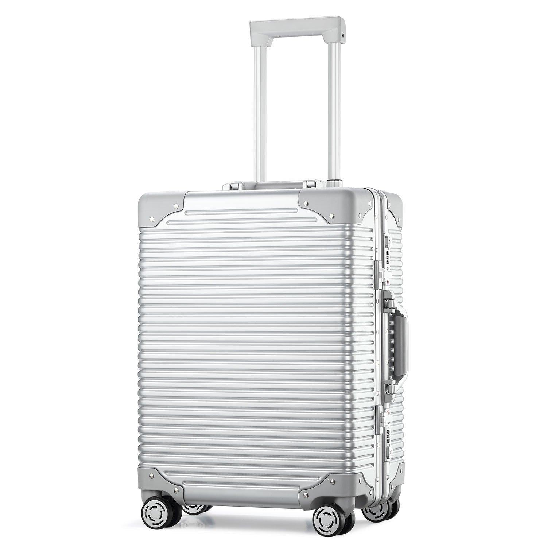 (アスボーグ)ASVOGUE スーツケース キャリーケース TSAロック 半鏡面仕上げ アライン加工 アルミフレーム レトロ 旅行 出張 軽量 静音 ファスナーレス 機内持込可 保護カバー付き B07BBLF9BB L|シルバー-ボーダー型 シルバー-ボーダー型 L