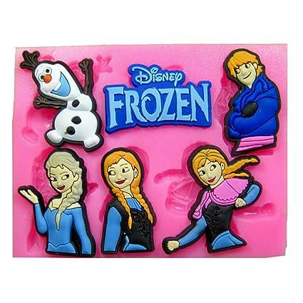 Frozen El Reino Del Hielo Olaf Anna Elsa Molde de silicona para la torta