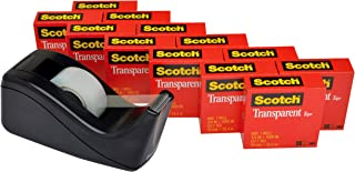 product image for Scotch Brand Transparent Tape with C60 Desktop Dispenser, Versatile, Cuts Cleanly, Engineered for Office and Home Use, 3/4 x 1000 Inches, Boxed, 12 Rolls, 1 Dispenser (600K-C60)