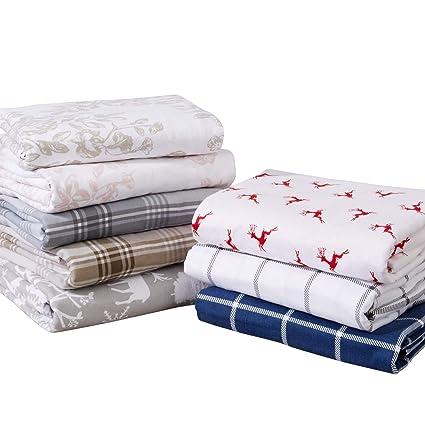 Extra Soft Plaid 100% Turkish Cotton Flannel Sheet Set. Warm, Cozy,  Lightweight