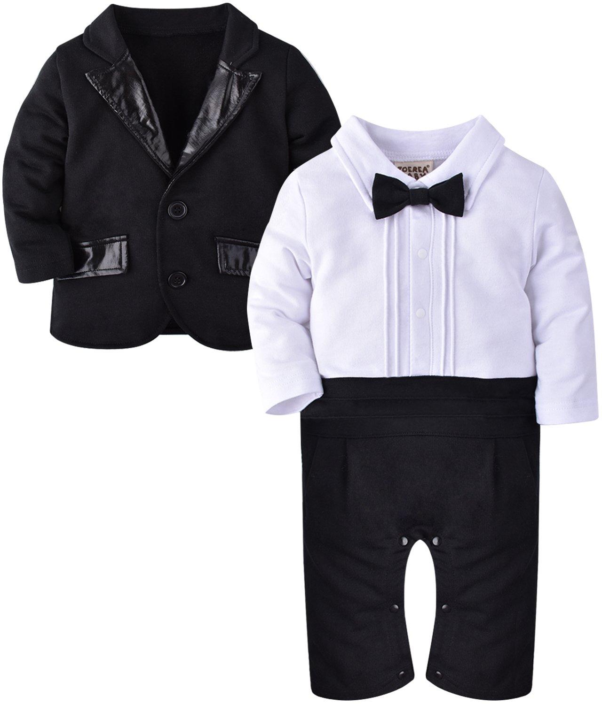 ZOEREA 2pcs de los bebés Caballero del juego del equipo del mono de la chaqueta + romper para el bautismo cumpleaños de la boda (3-18 meses) YS1489