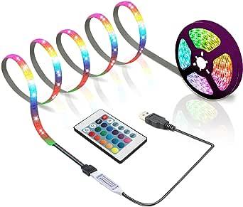 BIHAND 6.56ft USB LED Strip Lights, USB Rope Lights with 24 Keys Remote, DIY Indoor Decoration, TV Backlight for 40-60in