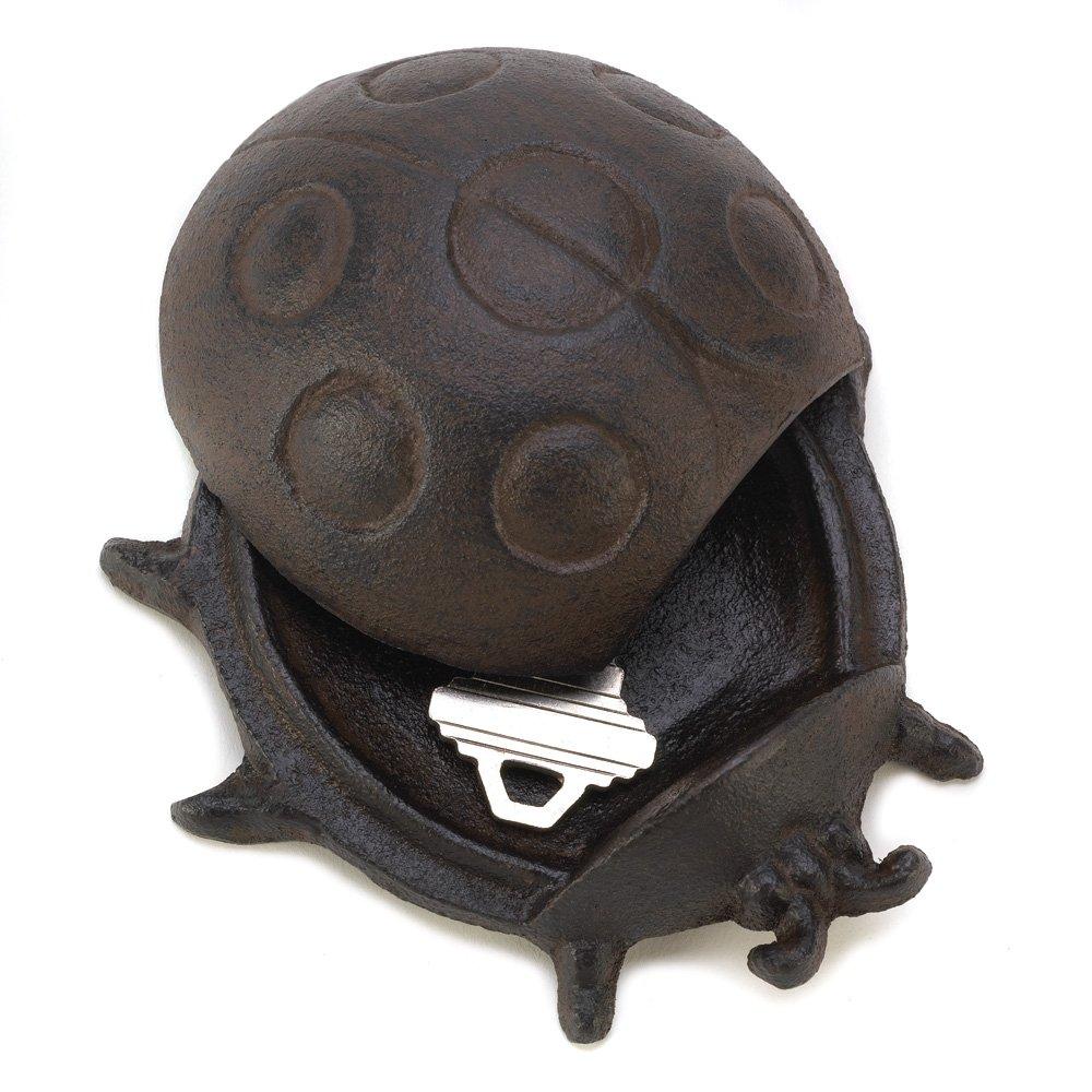 Gifts & Decor Ladybug Cast Iron Key Hider Garden Lawn Decoration