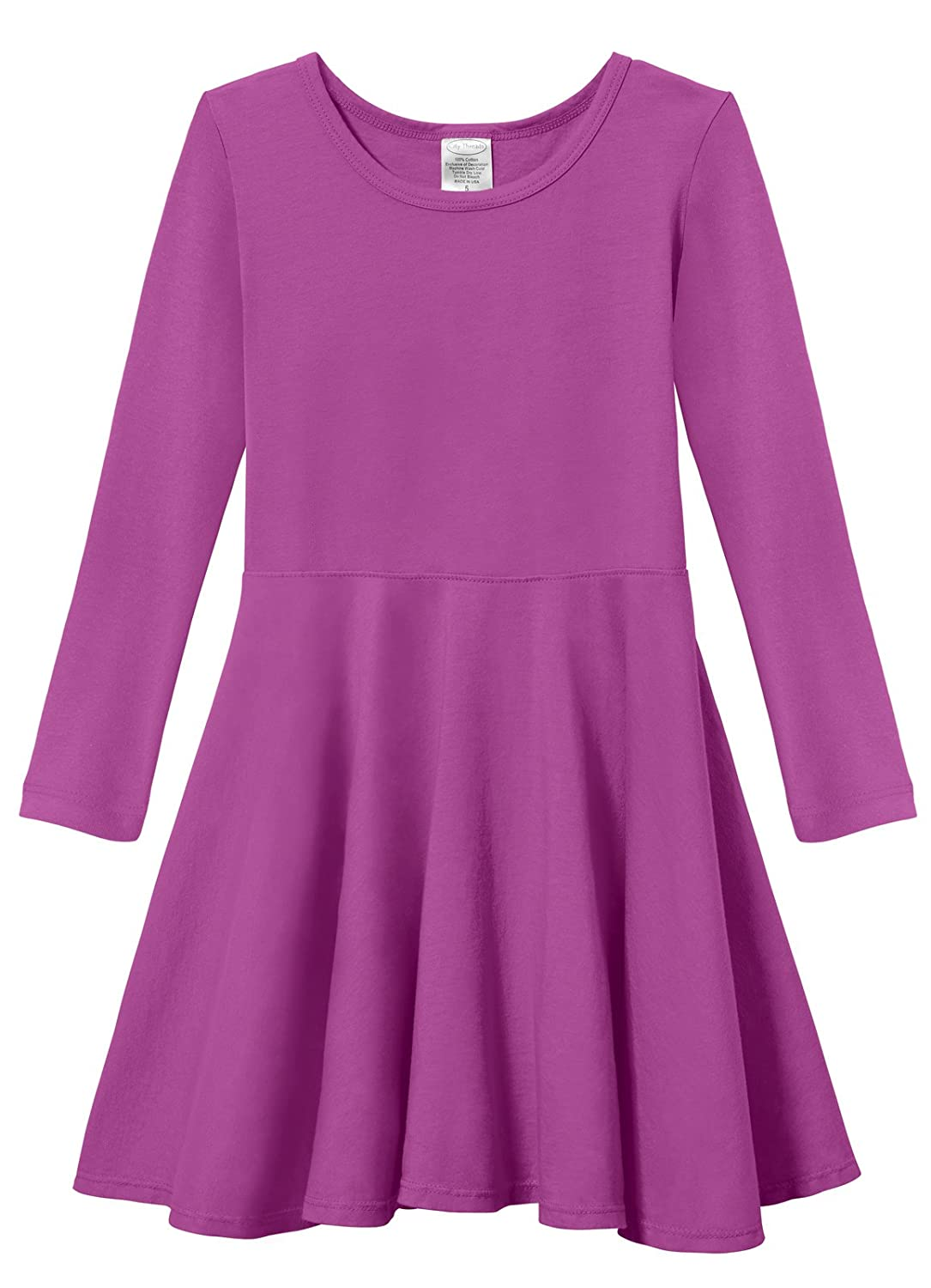 City Threads Girls Cotton Long Sleeve Twirly Skater Party Dress
