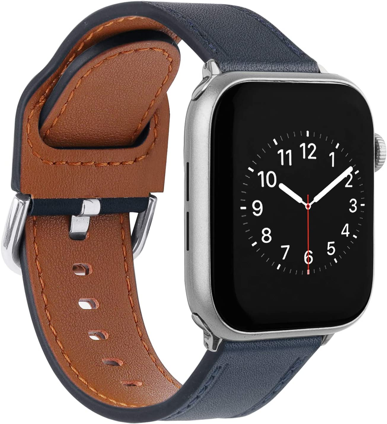 TOYOUTHS Compatible with Apple Watch Bands 38mm Series 3, Top Grain Leather Bands Replacement Straps Wristbands Women for iWatch 42mm 44mm Series 5 4, 38mm 40mm Series 3 2 1, Blue, 38mm, Small