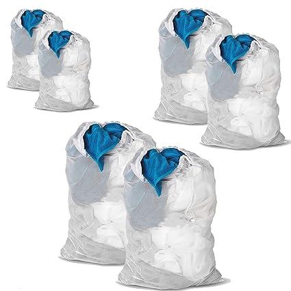 DoGeek Bolsas de Malla de Lavandería Bolsas de Lavad para Ropa interior, Calcetines,Sujetadores , Camiseta,Ropa de Bebé (6 pcs, Blanco)