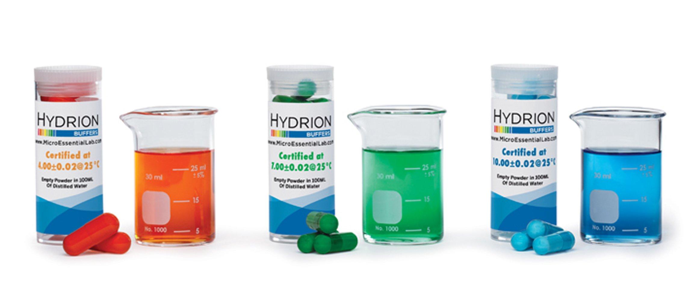 Micro Essential Labs Hydrion Tri-Chek Buffer Set Vials 4-7-10 ph