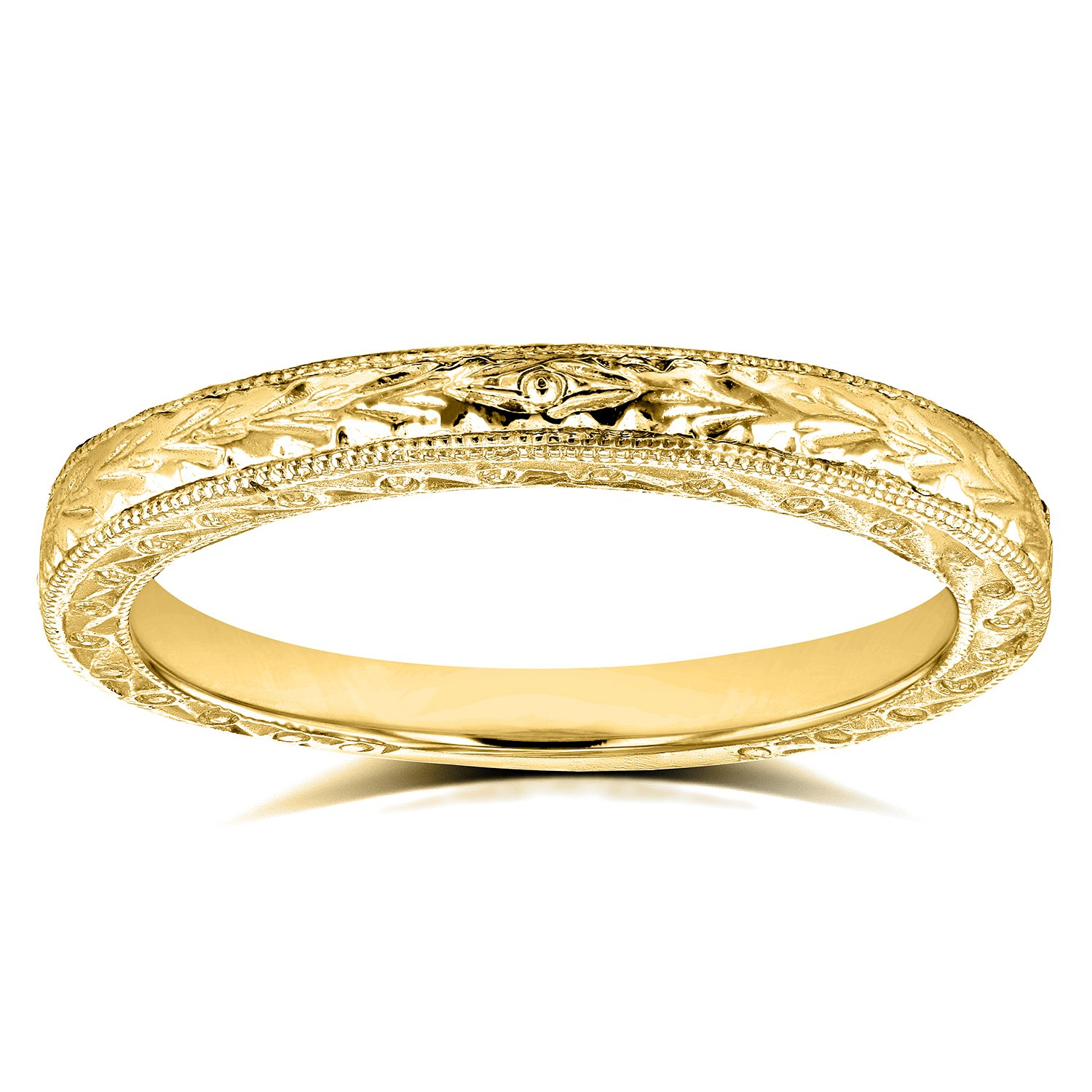 Antique Engravings Wedding Band in 14k Yellow Gold, Size 6