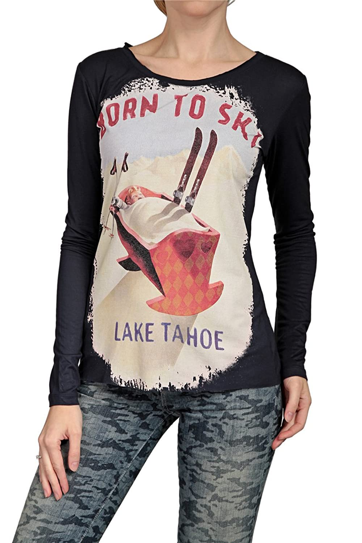 Hotspot Damen Shirt Langarmshirt BORN TO SKI, Farbe: Dunkelblau