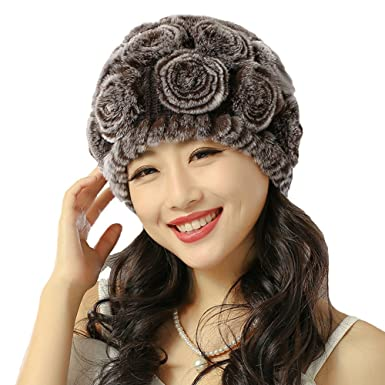 Women Fluffy Beanie Hat Ladies Winter Warm Flower Rabbit Fur Hats Cap  Urchart (Coffee) 99b56368eb15