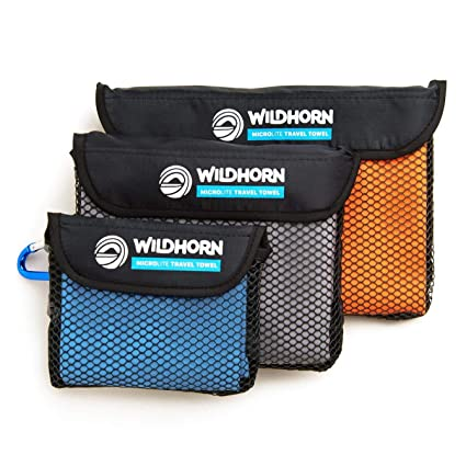 WildHorn Outfitters Outfitters Microlite Microfibra Quick Dry Viaje/Camping Toalla 3 Pack Bundle - Grandes
