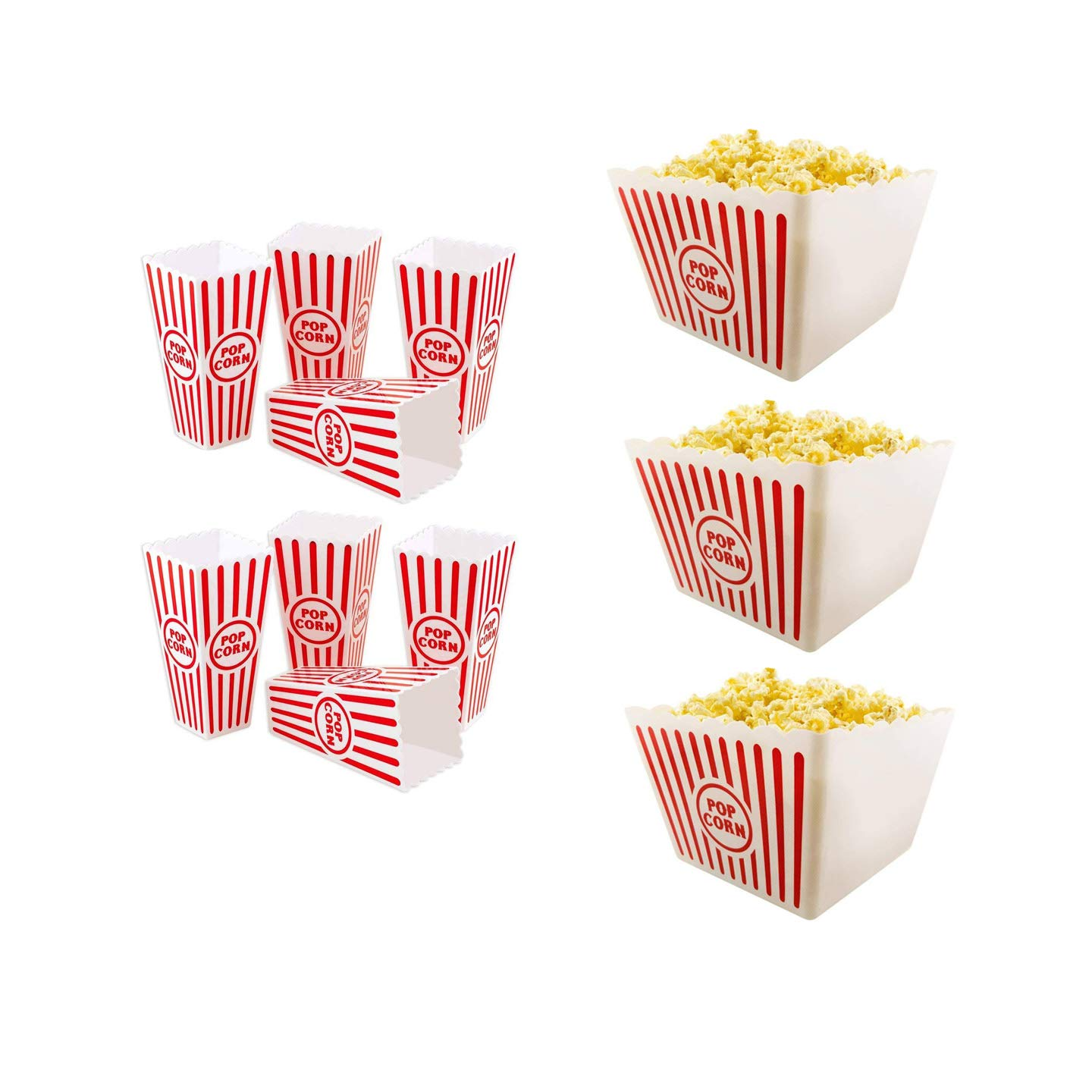 "Plastic Red & White Striped Classic Popcorn Containers for Movie Night Bundle 8 1/2"" Square x 7"" Deep & 6.11"" Tall x 3.8"" Square (3) Dad's Lake House"