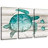 SUMGAR Large Wall Art Set for Living Room Teal Sea Turtle Wall Decor Vintage Paintings on Canvas Framed Prints,16x32x3p
