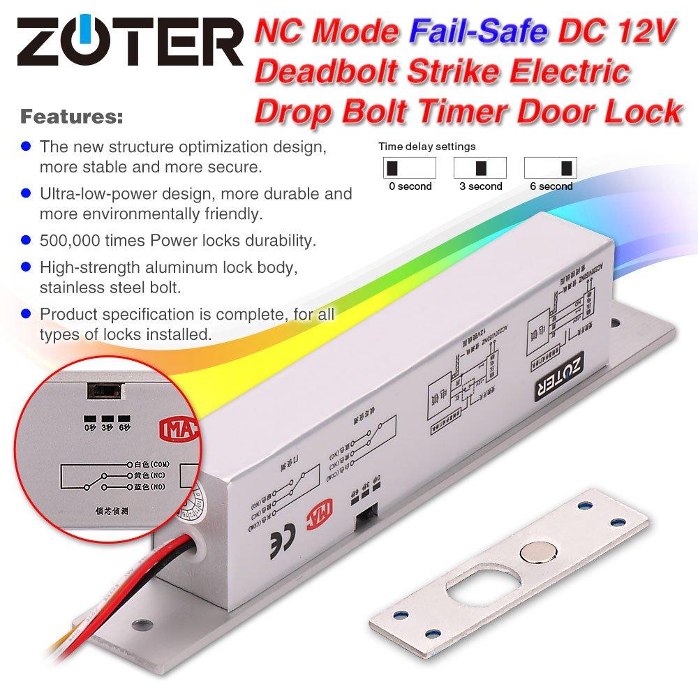 zoter DC 12 V cerradura eléctrica Drop perno modo NC Fail Safe Home Kit de seguridad para Control de acceso sistema de bloqueo de puerta: Amazon.es: ...
