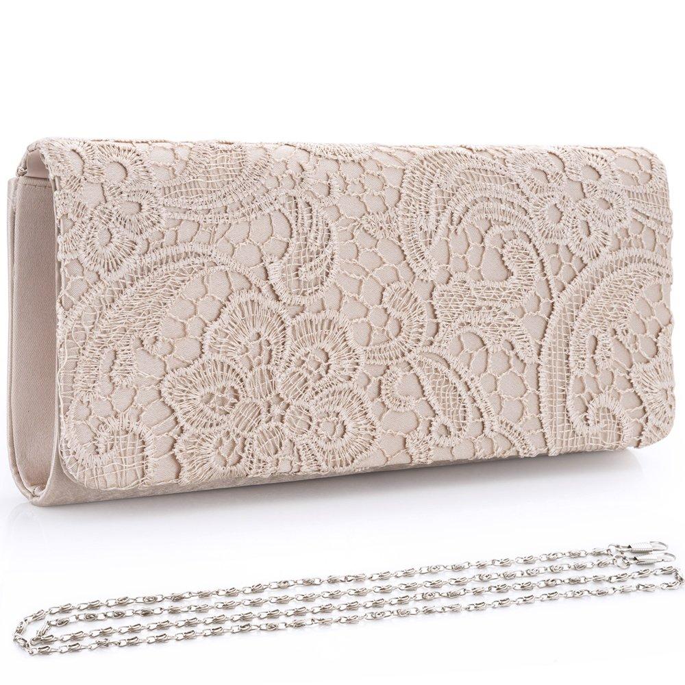 Womens Satin Evening Bag Clutch Handbag Elegant Floral Lace Shoulder Bag Purse for Wedding Bridal Party Prom by LONGBLE