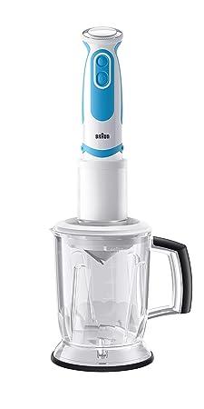 Braun Minipimer 5 MQ5060WH Twist fit - Batidora de mano, 750 w, 21 velocidades, accesorio spiralizer, vaso medidor 0,6 l, blanco y azul: Amazon.es: Hogar