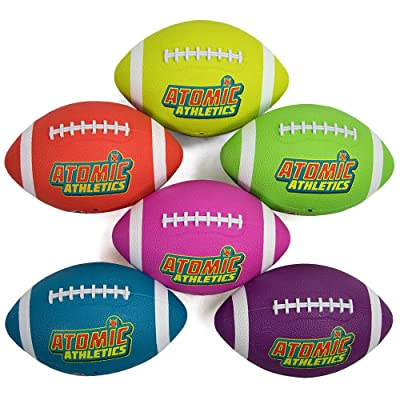 """K-Roo Sports Atomic Athletics 6 Pack of Neon Rubber Playground Footballs – Youth Size 7, 10.5\"""" Balls with Air Pump and Mesh Storage Bag : Sports & Outdoors [5Bkhe0201139]"""