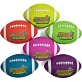 "Atomic Athletics 6 Pack of Neon Rubber Playground Footballs – Youth Size 7, 10.5"" Balls with Air Pump and Mesh Storage Bag by K-Roo Sports"
