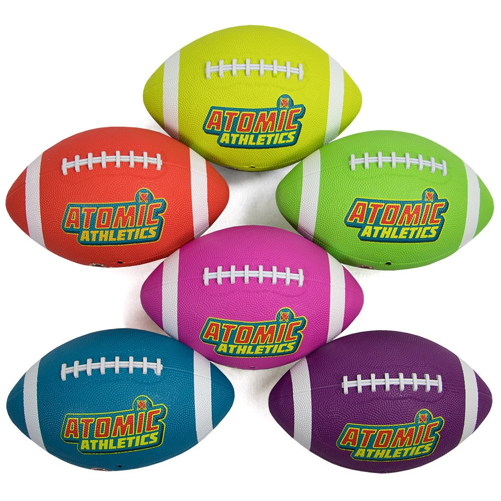 Atomic Athletics 6 Pack of Neon Rubber Playground Footballs - Youth Size 7, 10.5'' Balls with Air Pump and Mesh Storage Bag by K-Roo Sports