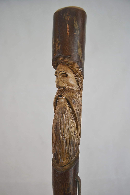 Bâton de marche Mountain Man carving Hickory Randonnée Personnel made in USA Forte
