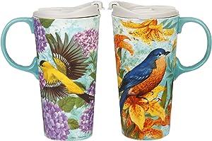 CEDAR HOME Coffee Ceramic Mug Porcelain Latte Tea Cup With Lid 17oz. Goldfinches, Set of 2