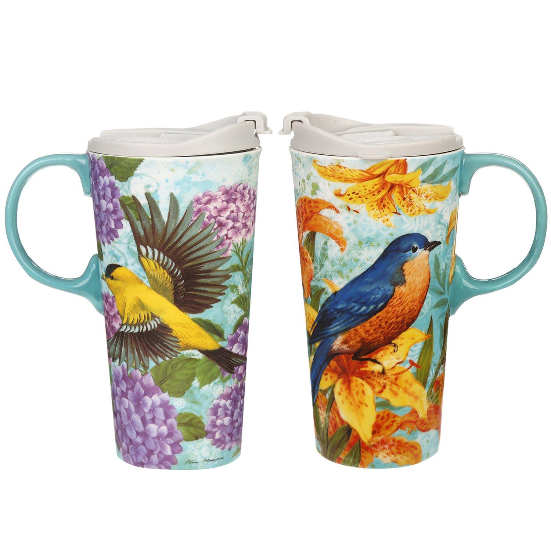 CEDAR HOME Travel Coffee Ceramic Mug Porcelain Latte Tea Cup With Lid 17oz. Goldfinches, Set of 2