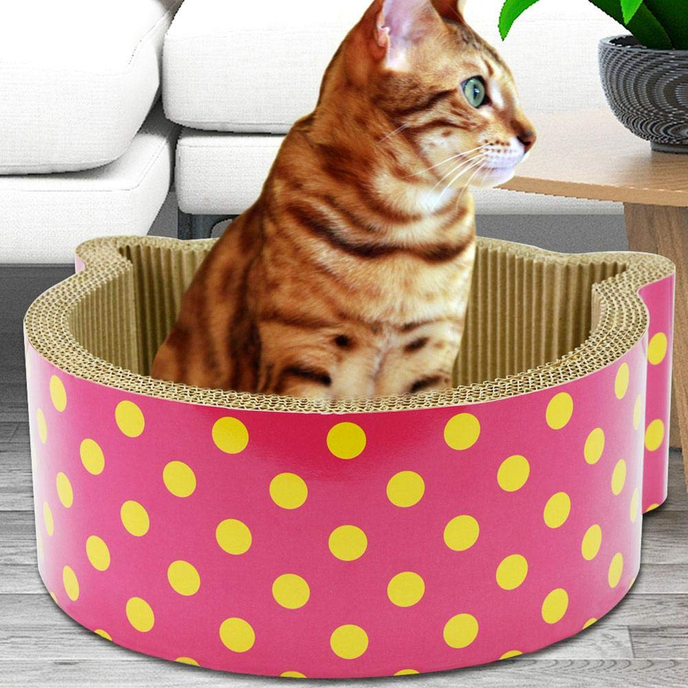Dreameryoly Corrugated Paper Cat Ears Shaped Cat Scratch Board Scratcher Cardboard Cat House